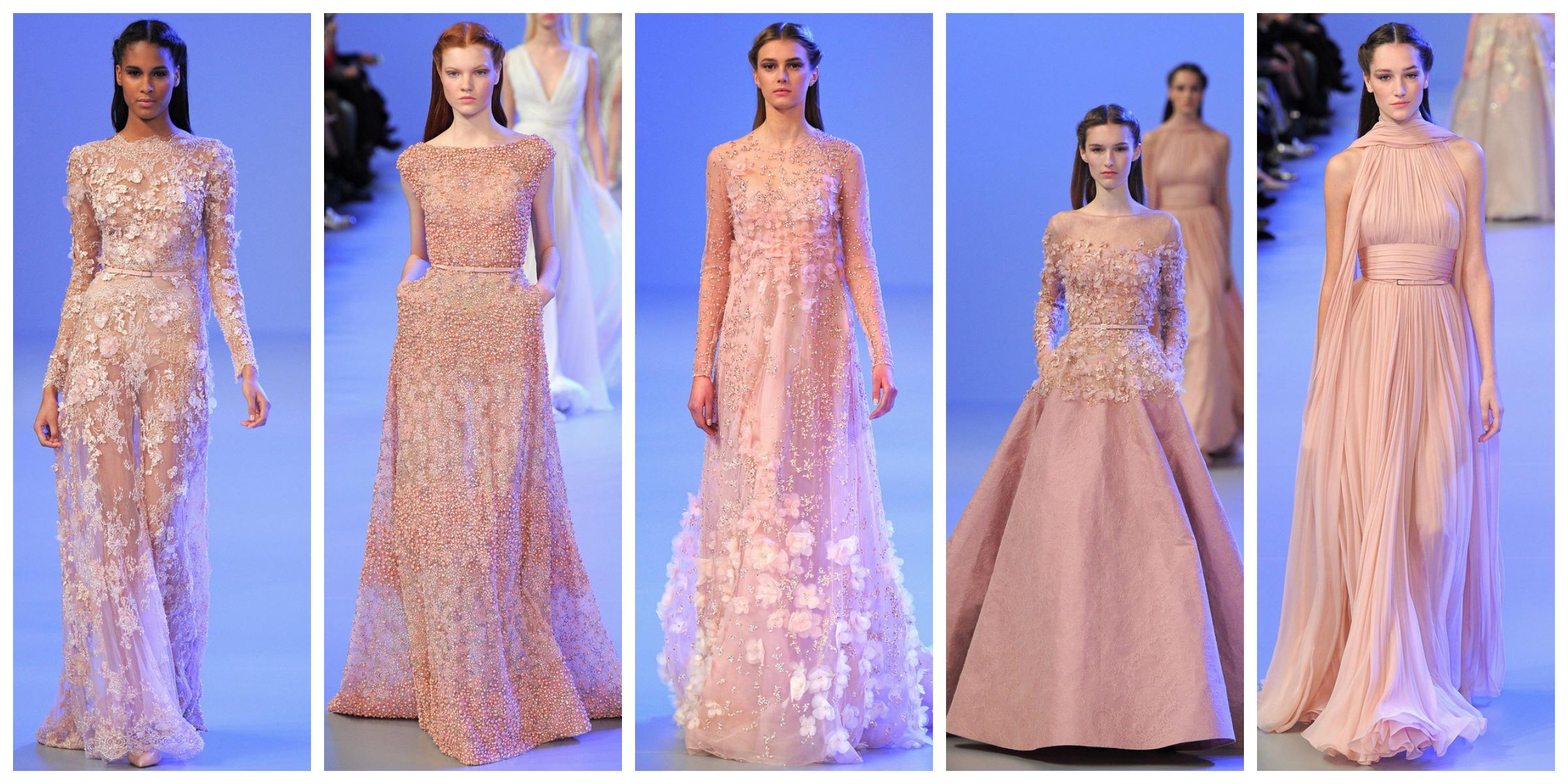Elie saab couture perlas y coco - Color rosa empolvado ...