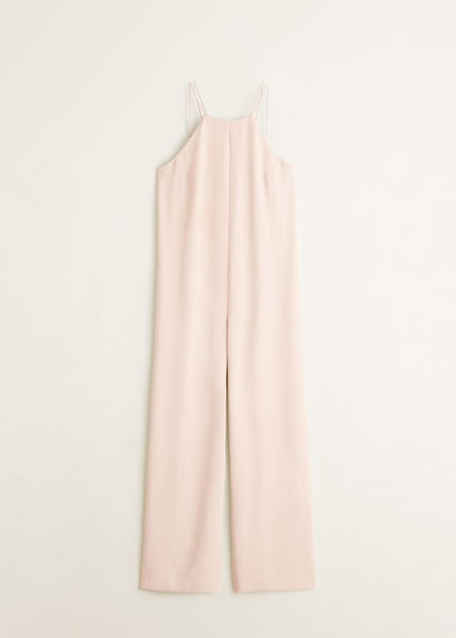 Mango 39,99€ - Mono rosa suelto con pantalón tipo palazzo, escote halter y tirante fino. Lleva un poco de escote en la espalda en forma de V.