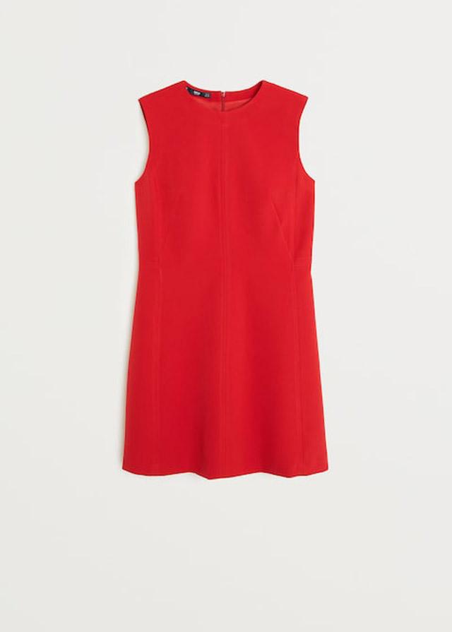 Vestido rojo costuras Mango
