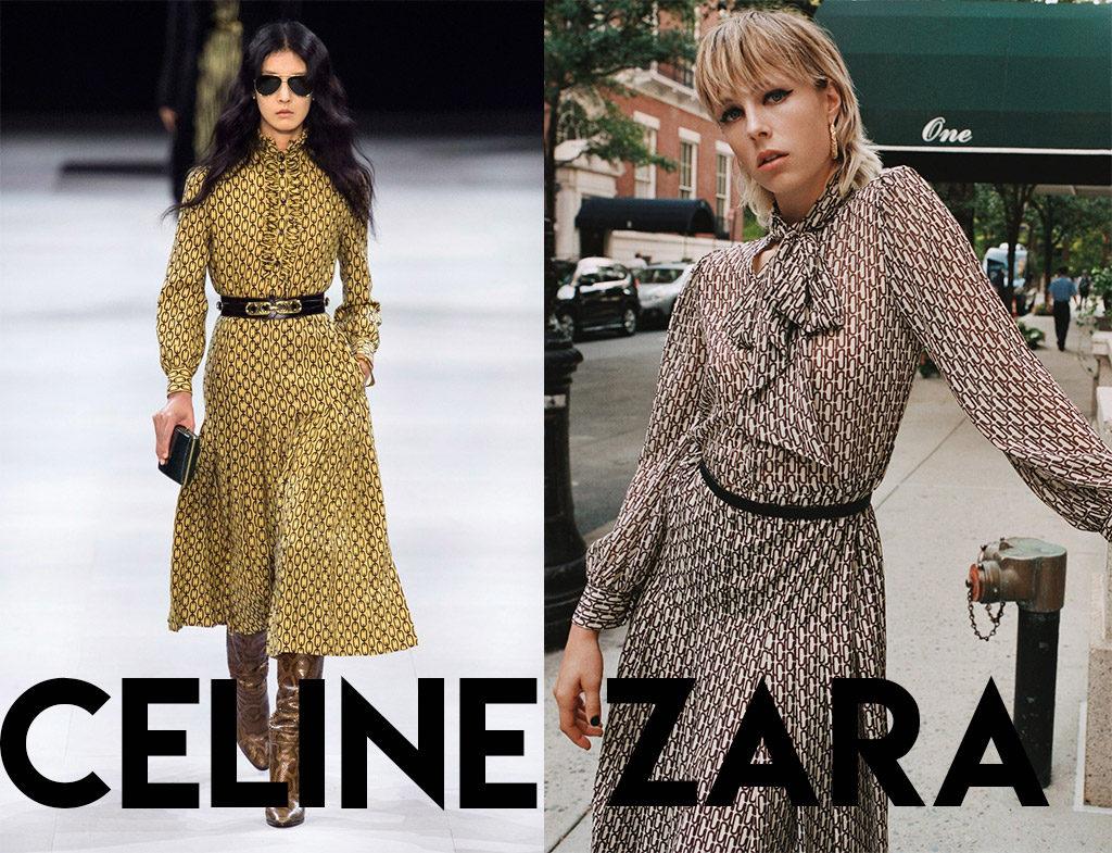 Clon vestido setentero Celine VS Zara
