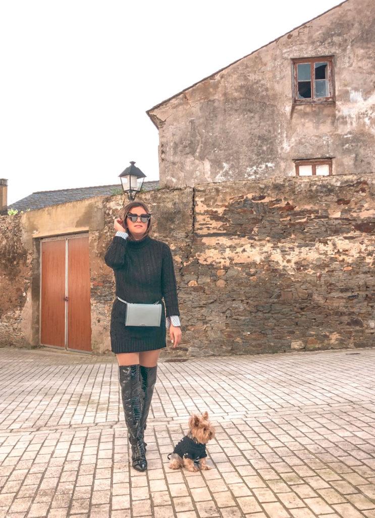 Vestido-jersey negro de Femmeluxe