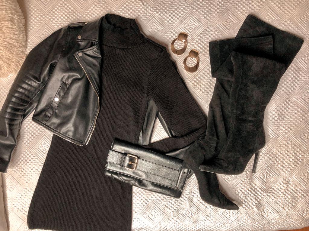 Vestido-jersey de canalé