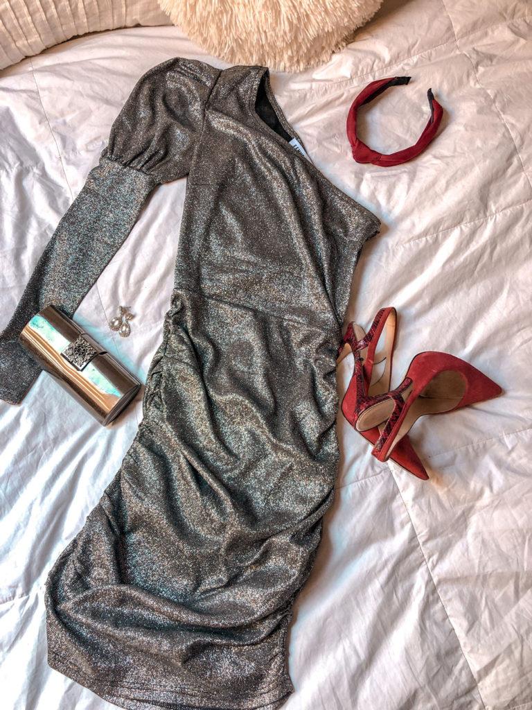 Vestido asimétrico brilli brilli plateado Femme Luxe